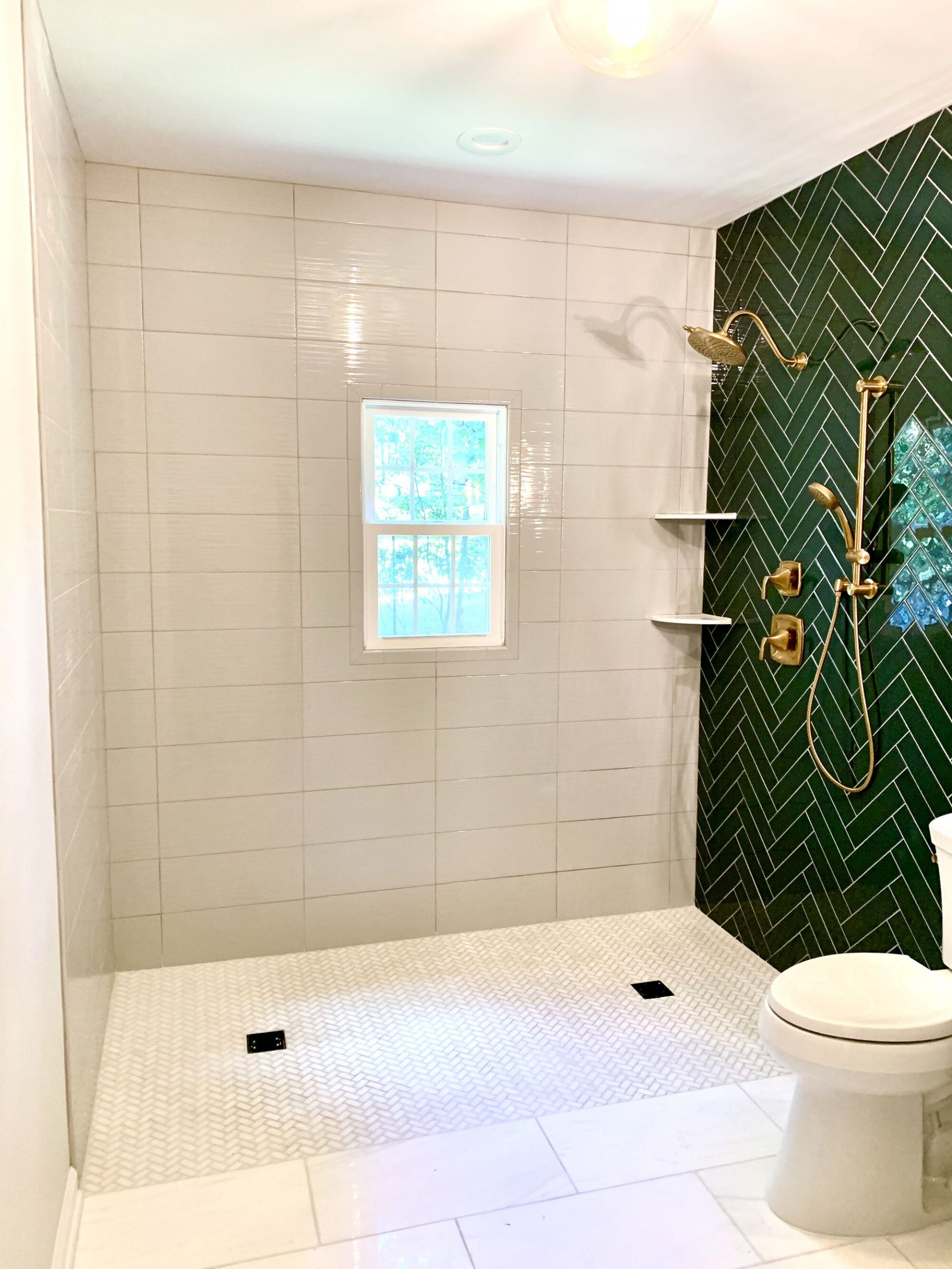 Zero Clearance Shower Floor, Herringbone Glass Tile Accent Wall, Polished Gold Faucets in Green Brook, Middlesex County NJ