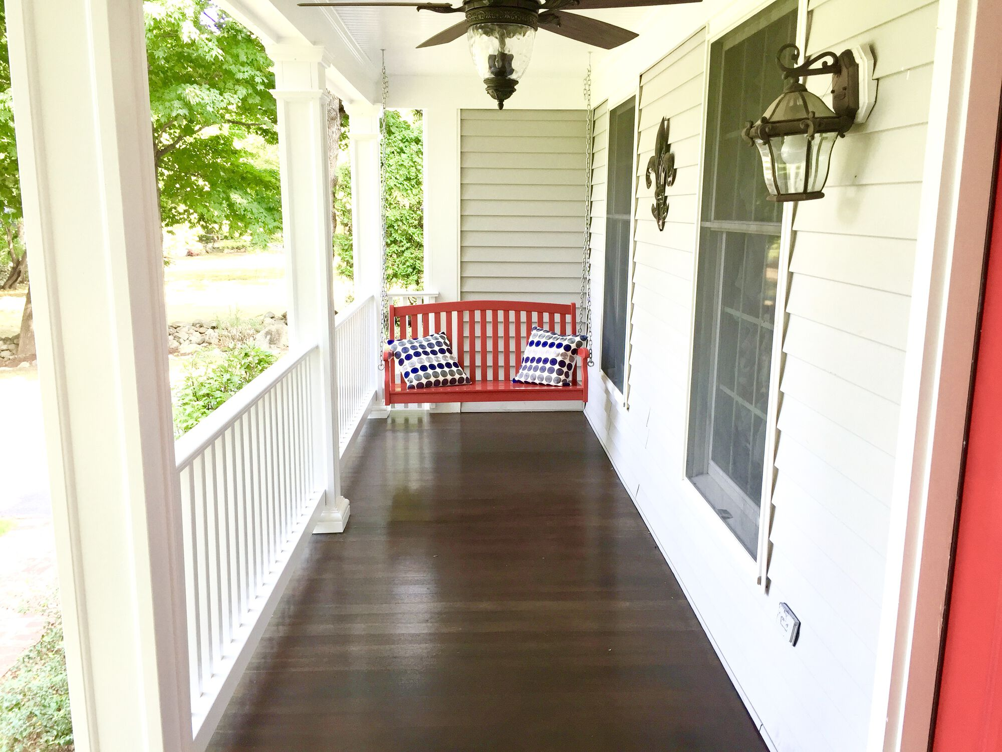 Covered Mahogany Wood Porch with HBG Fibercast Recessed Panel Posts in Ramsey, Bergen County NJ