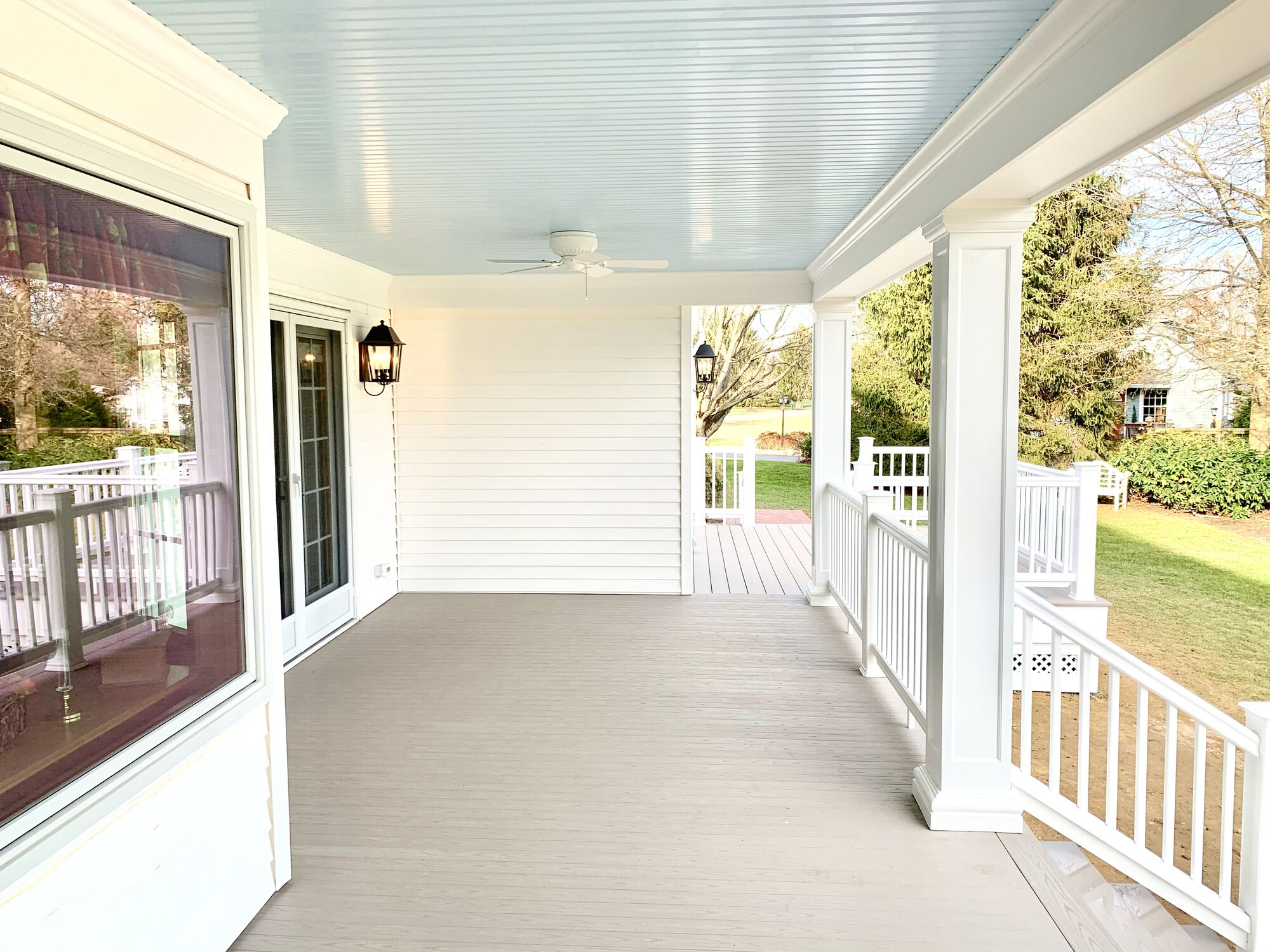 Covered Porch _ Open Deck with Azek Composite Decking, Timbertech Radiance Rails in Washington, Warren County NJ