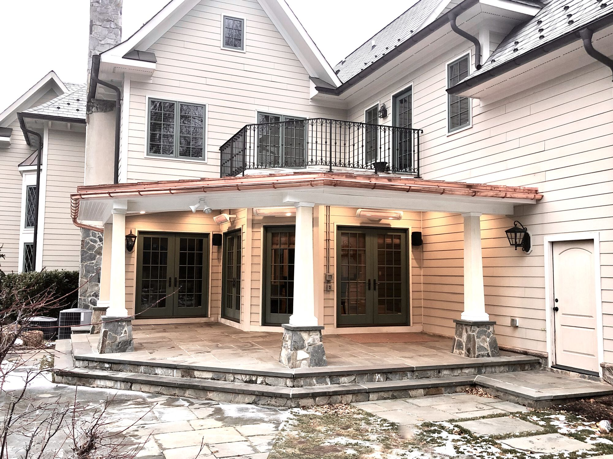 Covered Stone Porch with Copper Roof, Azek Composite Beaded Ceiling, Radiant Heaters in Madison, Morris County NJ