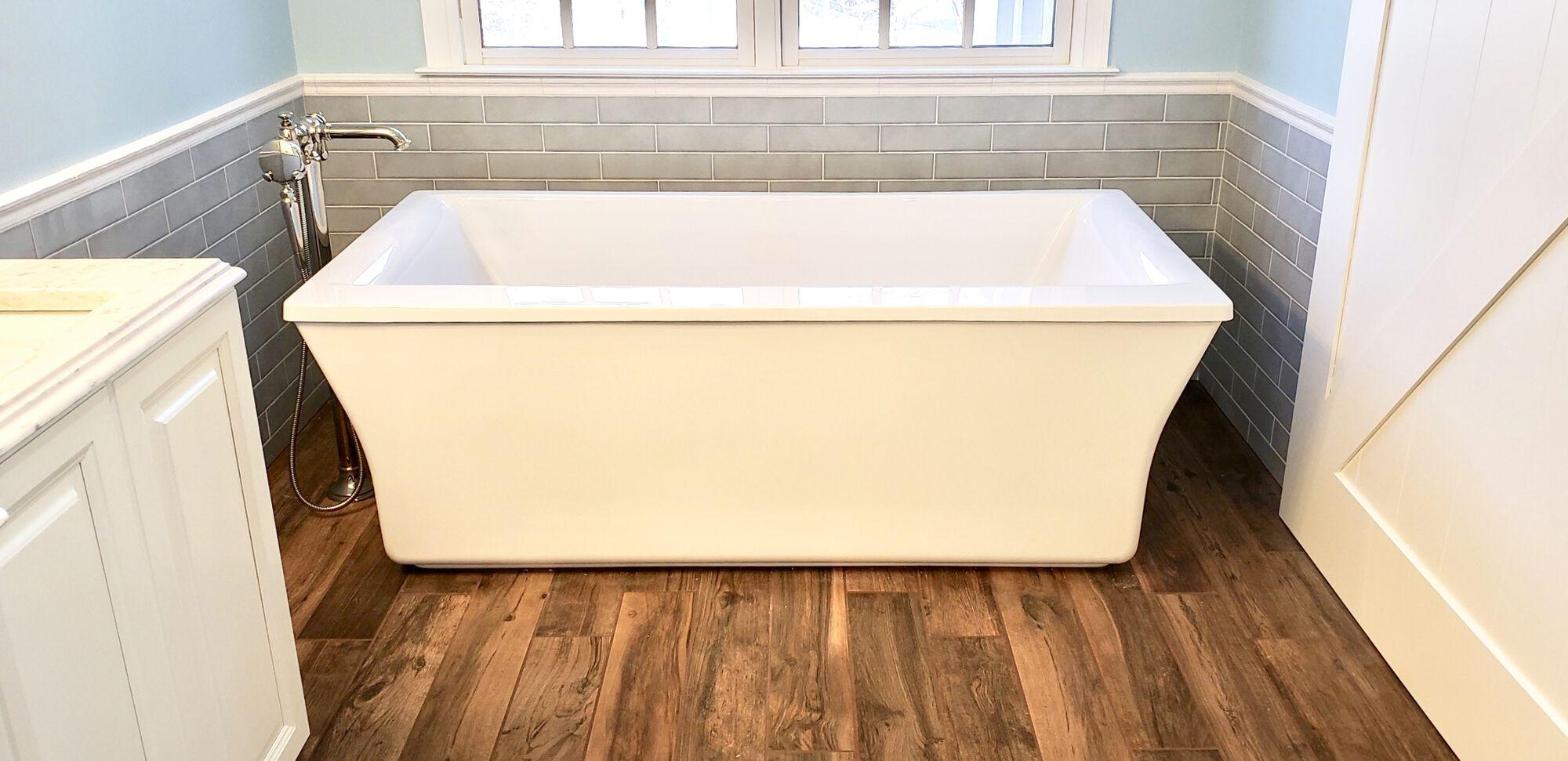 Freestanding Tub, Wood Plank Tile, Porcelain Subway Tile in North NJ
