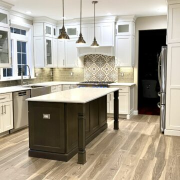 Kitchen Remodeling with Custom Brighton Wood Cabinetry, Porcelain Flooring, Andersen patio Doors, LED In-Cabinet Lighting in Somerset County NJ