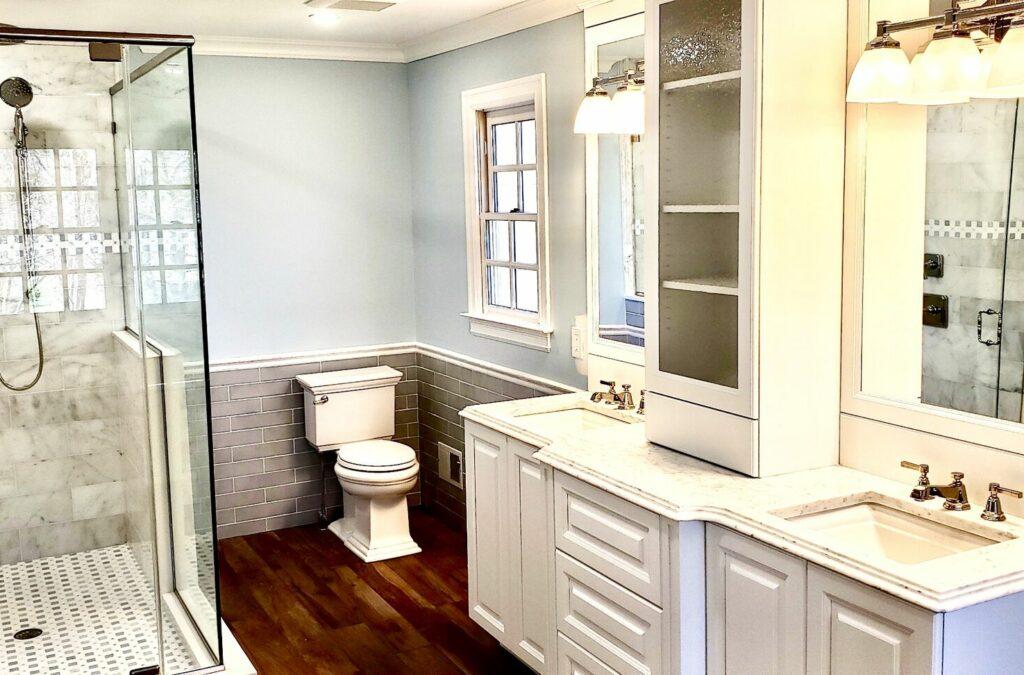 Master Bath with Porcelain Tile Walls, Wood Look Tile Floor, Custom Vanity Cabinet in North Jersey
