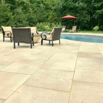 Techo-Bloc Travertina 30×30 Paver Patio with Matching Pool Coping in Sussex County NJ