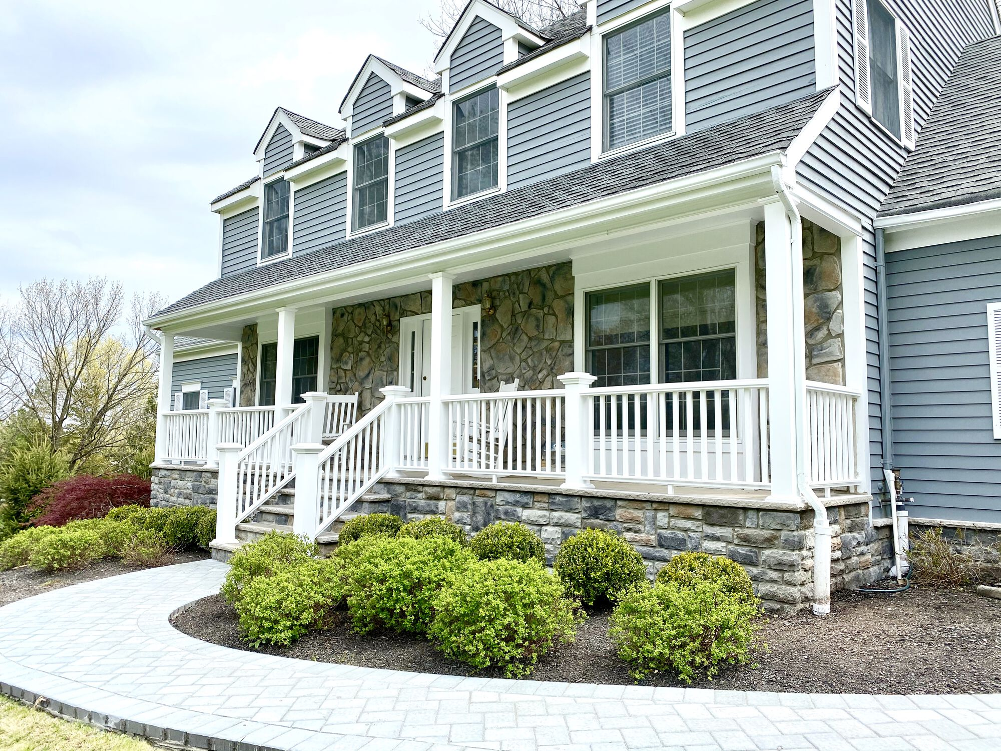 Front Porch with Cultured Stone, Azek Posts and Rails, Cambridge Paver Walkway in Hillsborough, Somerset County NJ