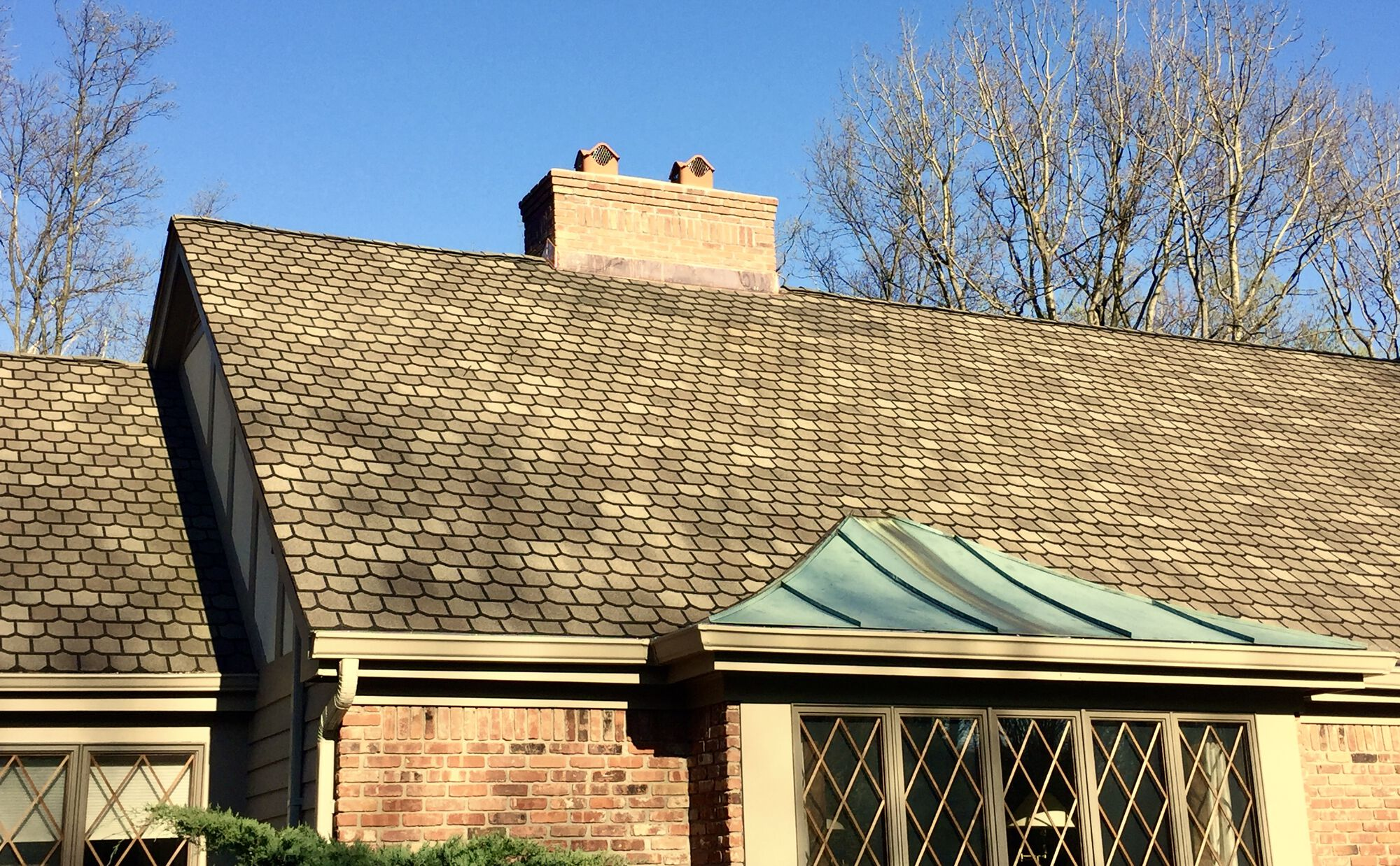 GAF Designer Lifetime Roofing System with Brick Chimney and Copper Flashing In Sussex County NJ
