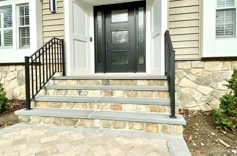 Masonry Front Steps with Dressed Fieldstone Veneers and Bluestone Treads in Randolph, Morris County NJ