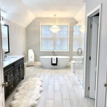 Porcelain Plank Tile Flooring, Fleurco Freestanding Tub, Kohler Fixtures in Sussex County NJ