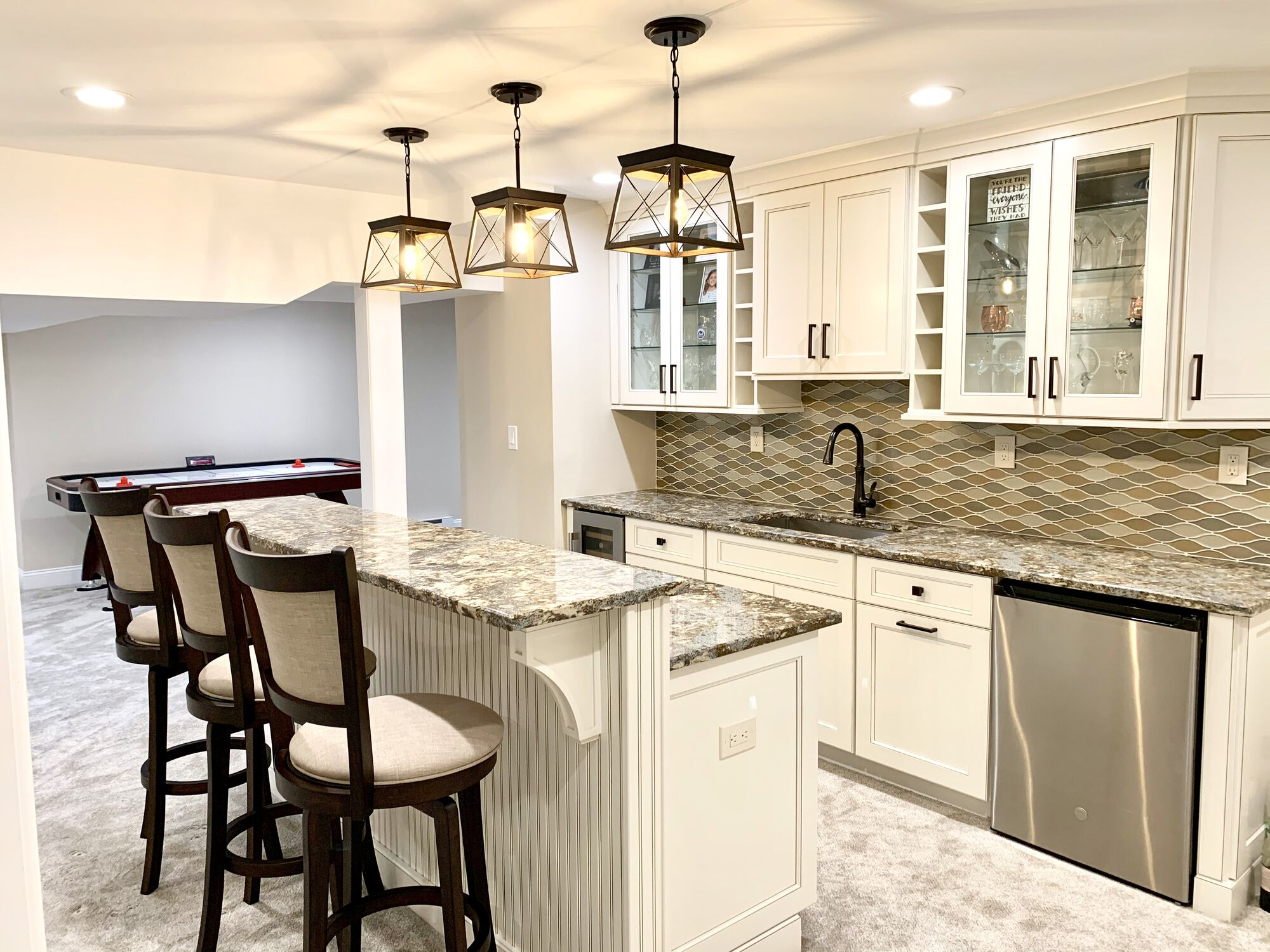 Basement Wet Bar with Fabuwood Cabinetry and Granite Stone Countertops in Hillsborough, Somerset County NJ