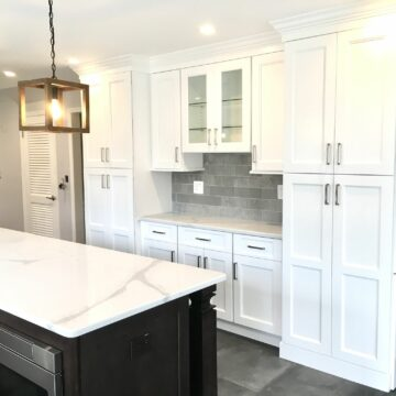 Custom Kitchen Bar Cabinetry with Stone Countertops in Upper Saddle River, Bergen County