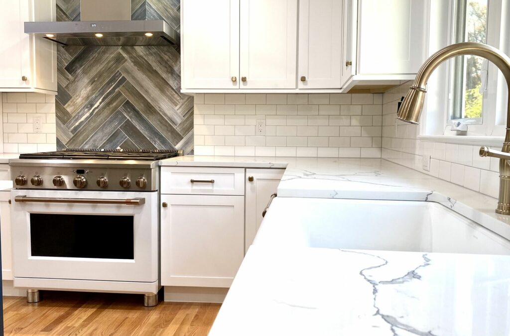 Kitchen Remodeling with Wood Cabinets, Subway and Wood Look Tile in Herringbone Pattern, GE Cafe Appliances in Berkeley Heights, Union County NJ