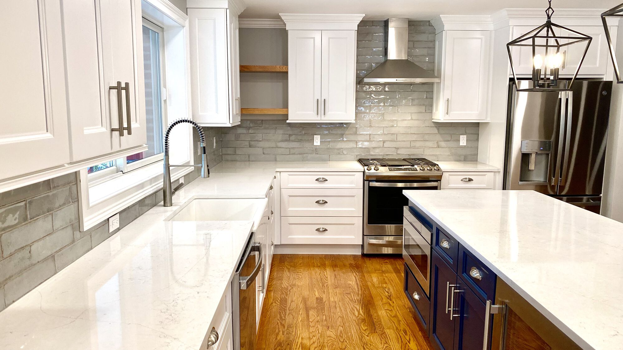 Kitchen Renovation with Open Shelving, Glazed Porcelain Backsplash, Custom Blue Island in Bloomfield, Essex County NJ