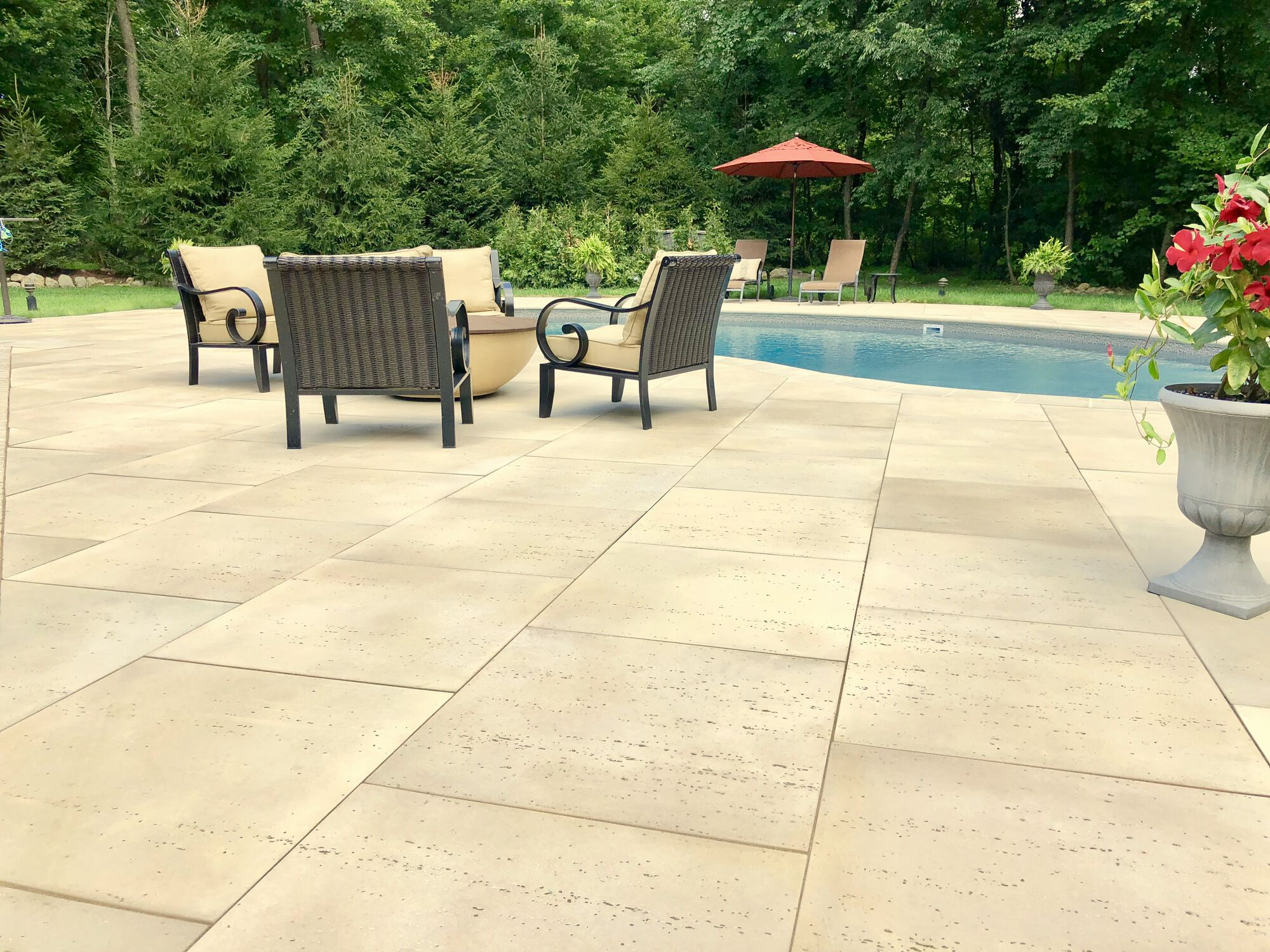 Techo-Bloc Travertina Slab Pavers and Matching Coping in Sparta, Sussex County NJ