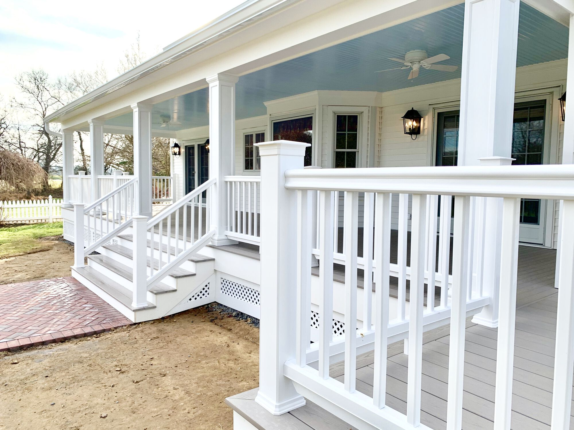 Covered Porch Addition with Azek Grooved Decking, Timbertech Radiance Coastal White Rails, Grooved Ceiling, Lighting and Fans in Washington, Warren County NJ