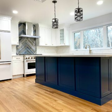 Fabuwood Custom Island with GE Cafe Appliances in Berkeley Heights, Union County NJ