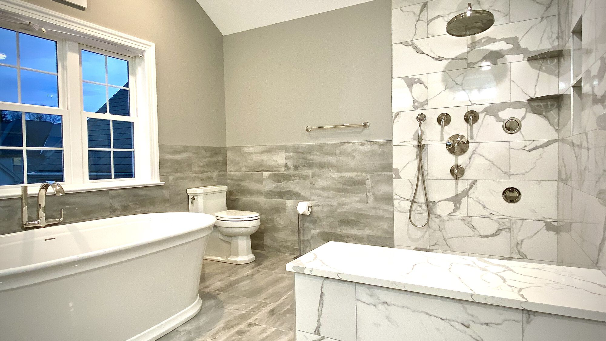 Master Bath with Kohler Soaking Tub and Kallista Faucets, Custom Shower and Bench in Central NJ