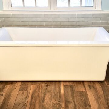 New Bath with Freestanding Tub and Wood Look Tile _ North Jersey