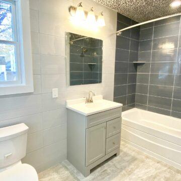Bathroom Addition with Kohler Fixtures and Porcelain Tile in Cranford, Union County NJ