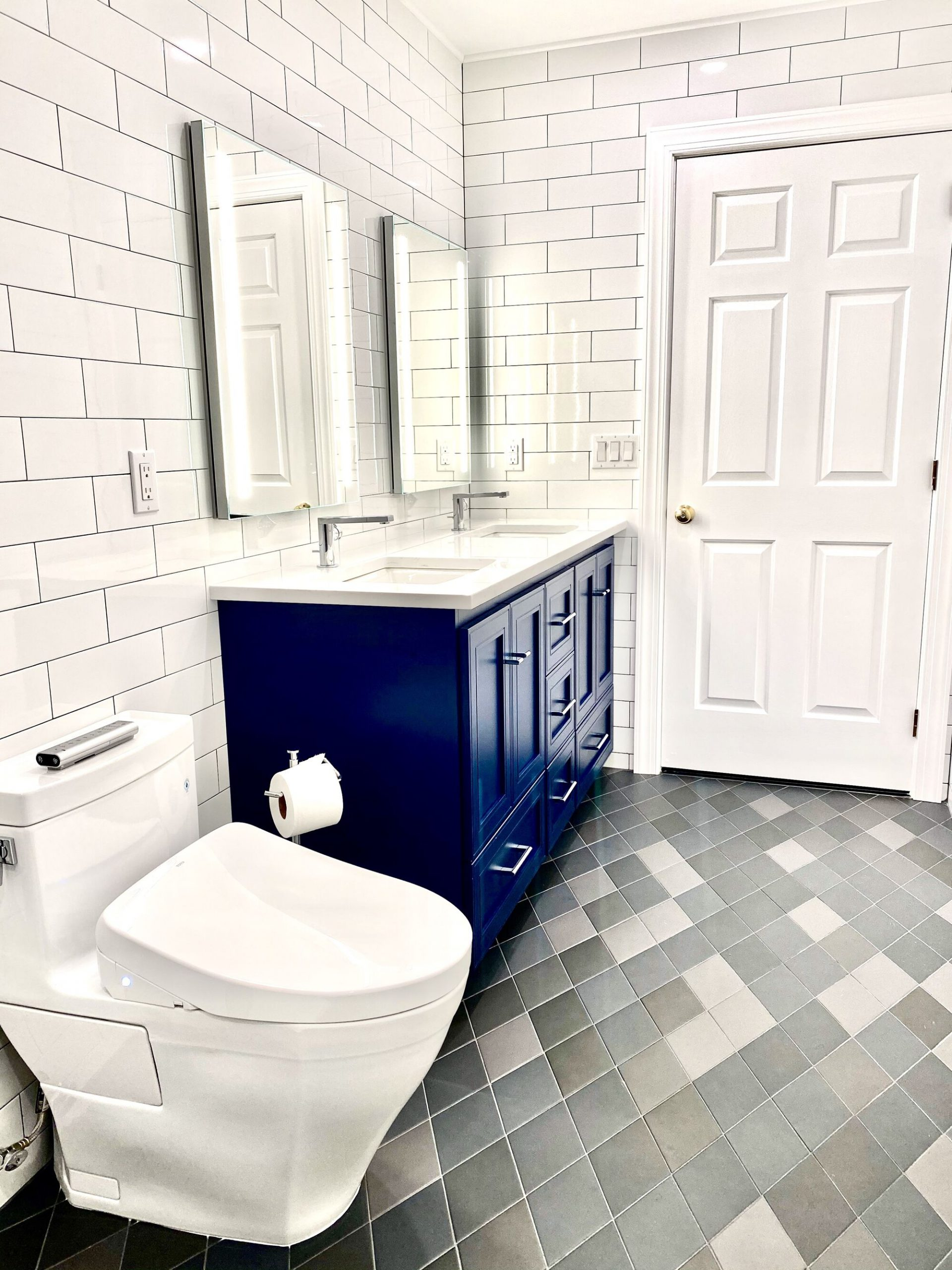 Custom Blue Double Sink Vanity, Oversized Subway Tiled Walls in Dayton, Middlesex County NJ