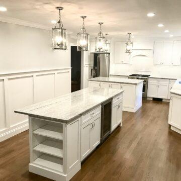 Fabuwood Galaxy Frost Cabinets, Bookshelves in Island, Wood Hood, Oak Flooring _ Granite Countertops in Sparta, Sussex County NJ