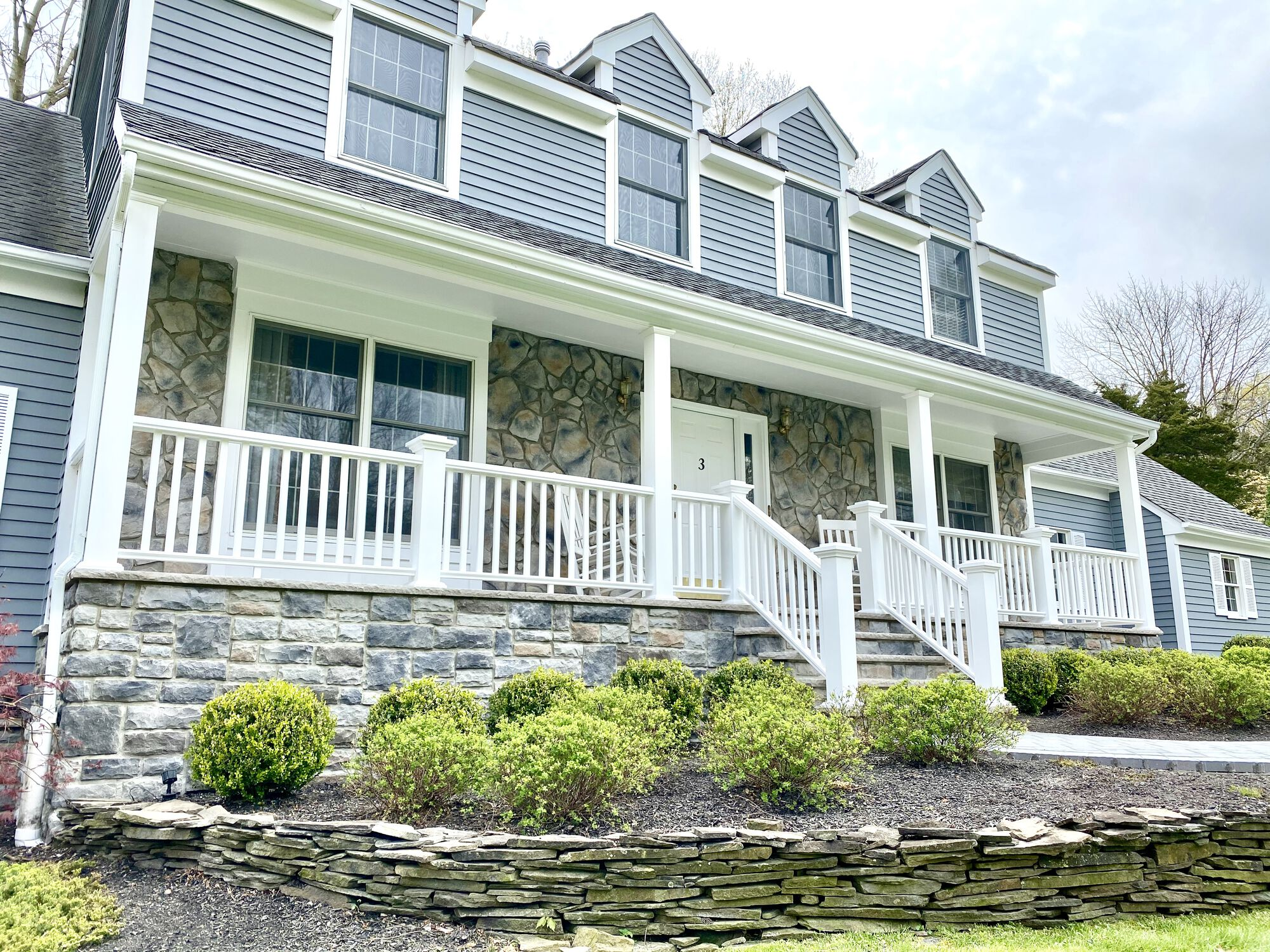Porch Remodeling with Azek Trim and Boral Stone in Hillsborough, Somerset County NJ