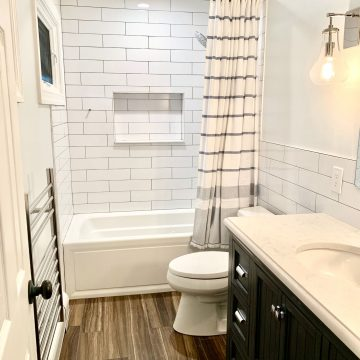 American Standard Bath Fixtures, Wood Look Floor Tile, Subway Tub and Shower Wall Tile, Towel Warmer in South Amboy, Middlesex County NJ