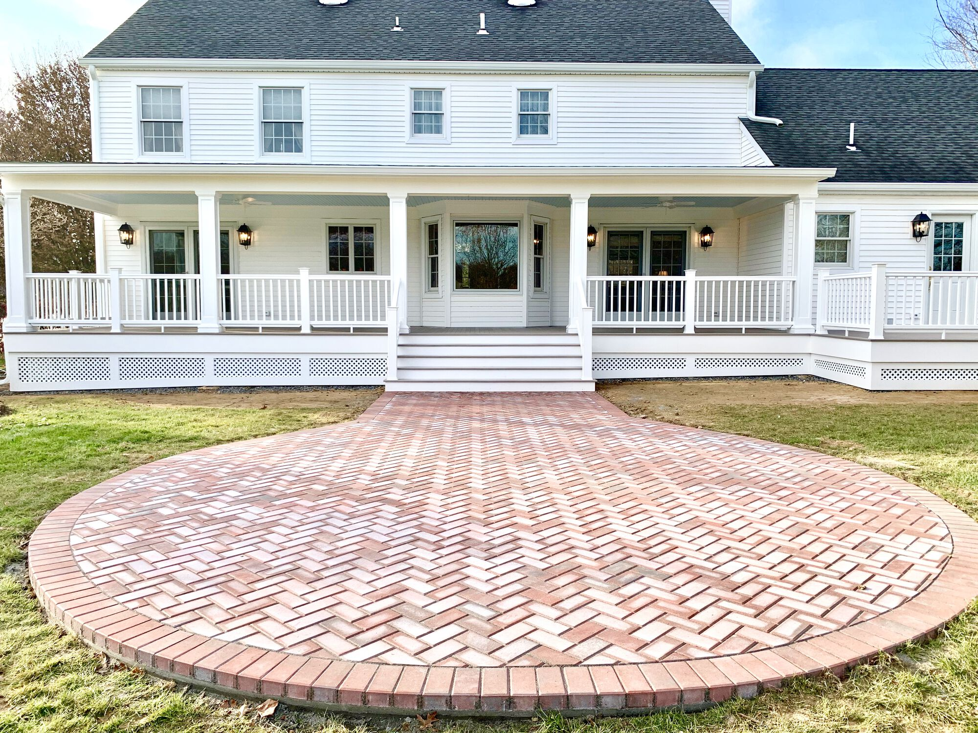 Cambridge Paver Patio, Covered Porch with Azek Composite Grooved Decking, Timbertech Radiance Rails in Washington, Warren County NJ