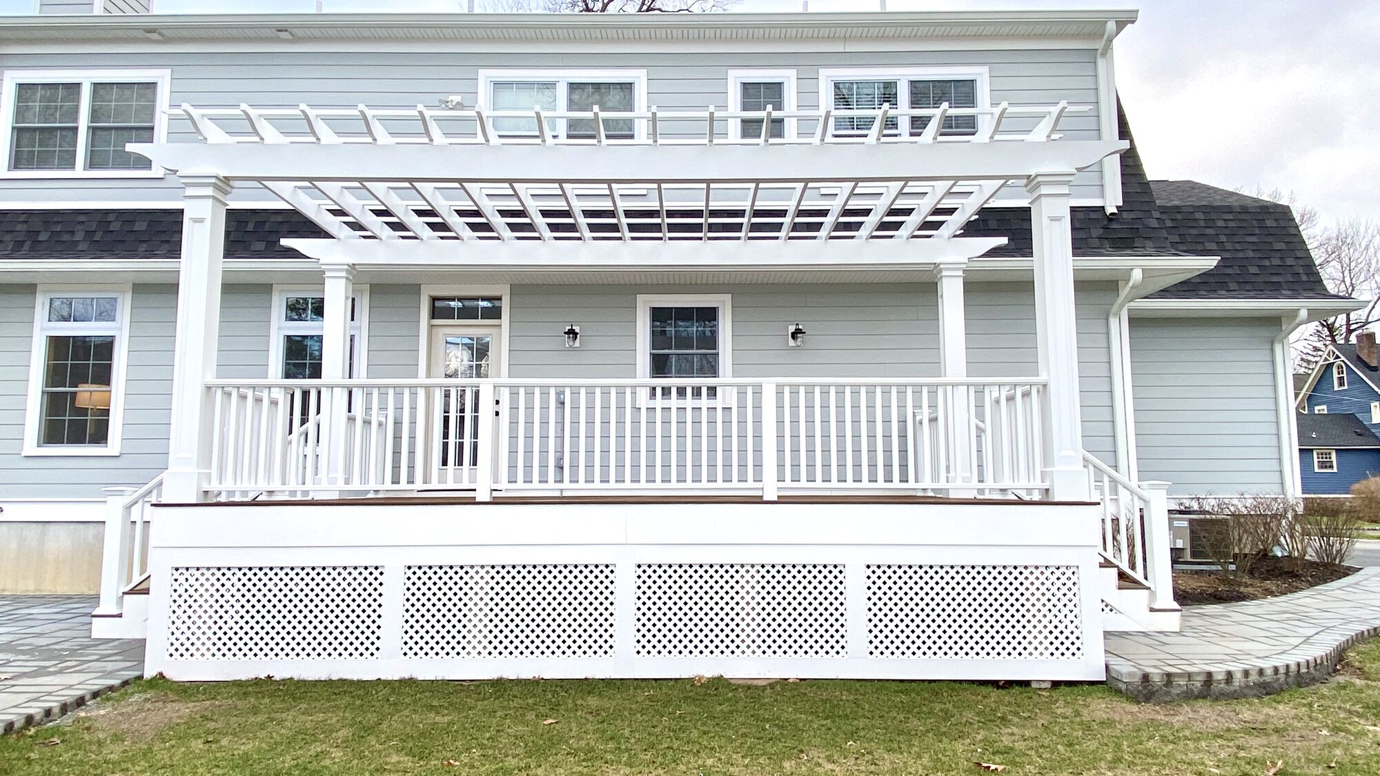 Composite Azek Deck and Pergola with Cambridge Lower Patio in Chatham, Morris County NJ