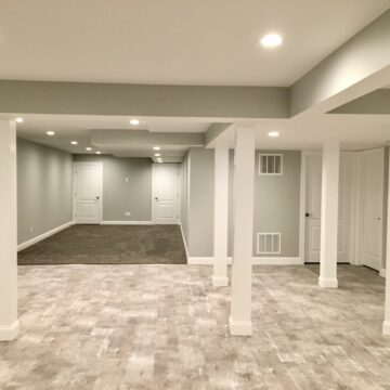 Finished Basement with Vinyl and Carpet, Tv Area, Exercise Room and Office in Upper Saddle River, Bergen County NJ