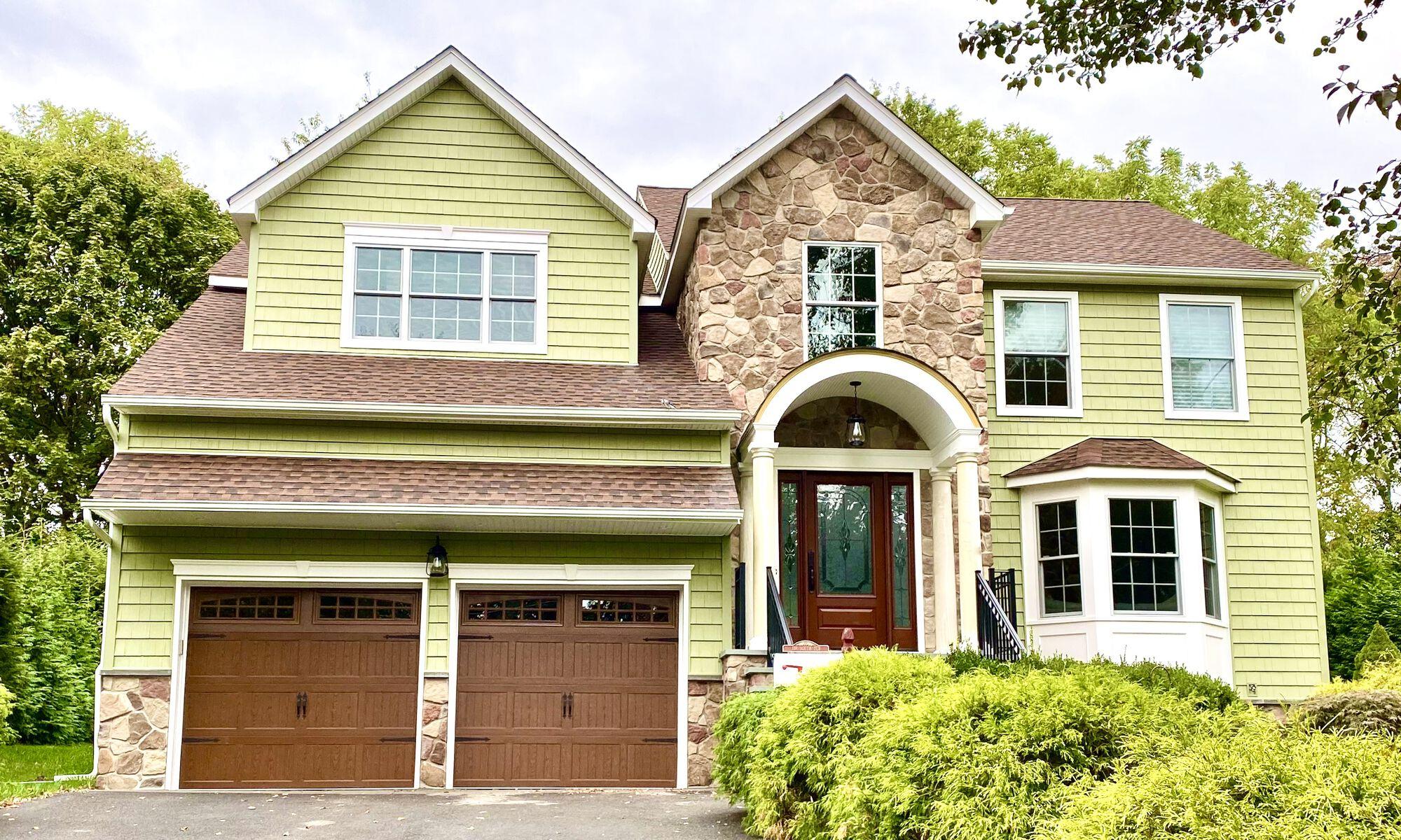Pelican Bay Siding, GAF HD Roofing, New Portico, Pella Windows _ Doors, General Garage Doors, Boral Stone Steps in Boonton, Morris County NJ