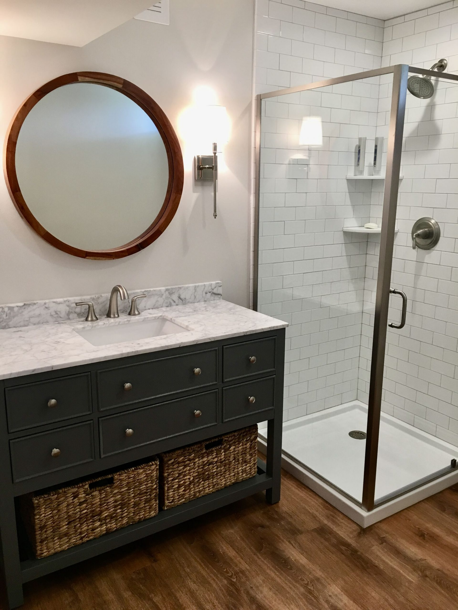 Basement Bath with Corner Shower, Porcelain Tile, Wood Vanity in Warren County NJ