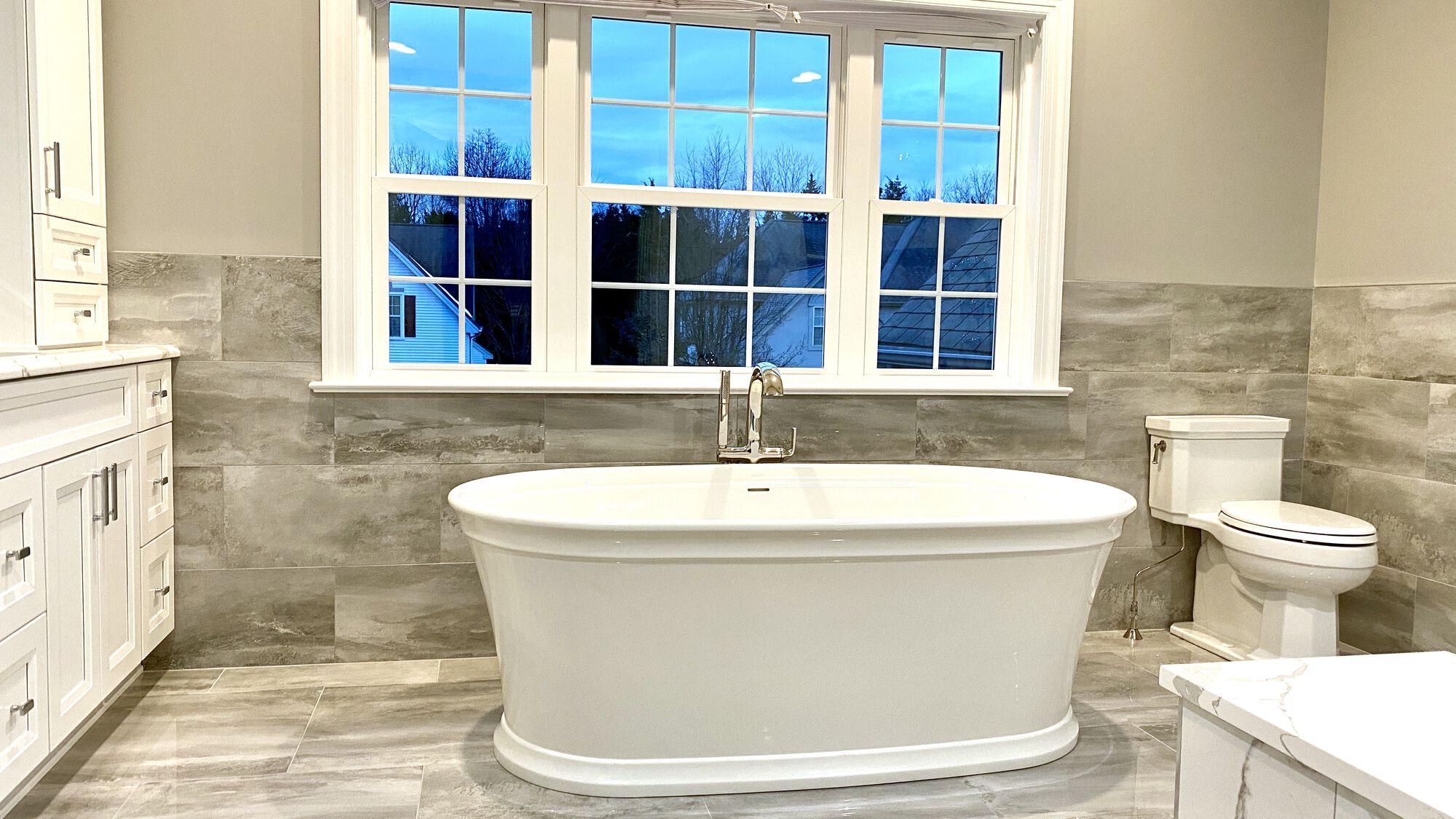 Master Bath with Kohler Soaking Tub and Kallista Faucets, Porcelain Tile in Central NJ