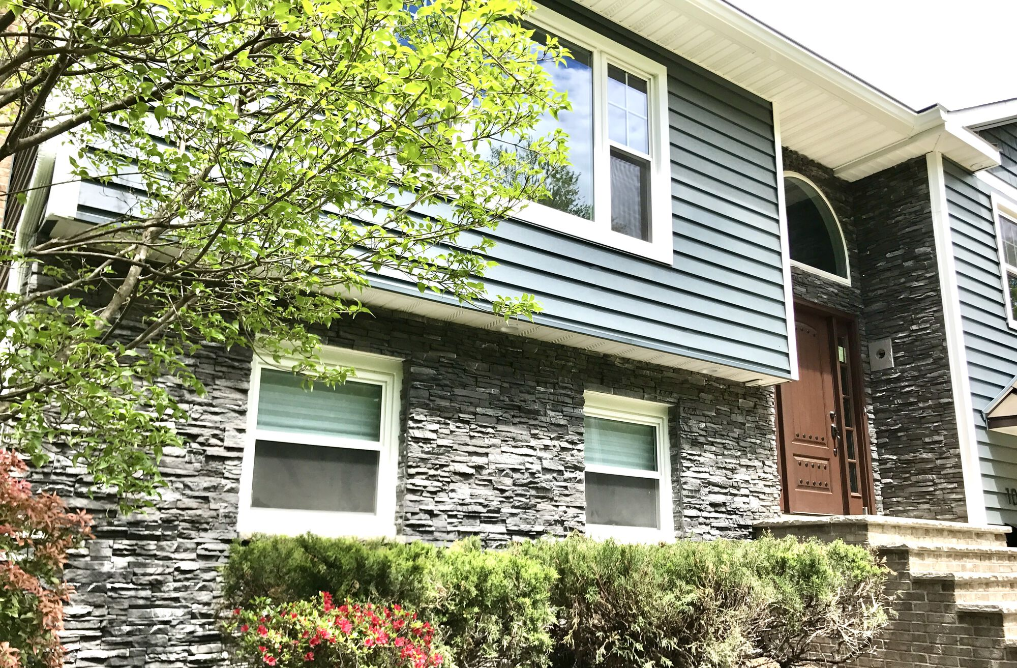 Prodigy Midnight Blue Insulated Clapboard Siding, Profit Cultured Stone, Custom Fit Vinyl Windows In Morristown, Morris County, NJ