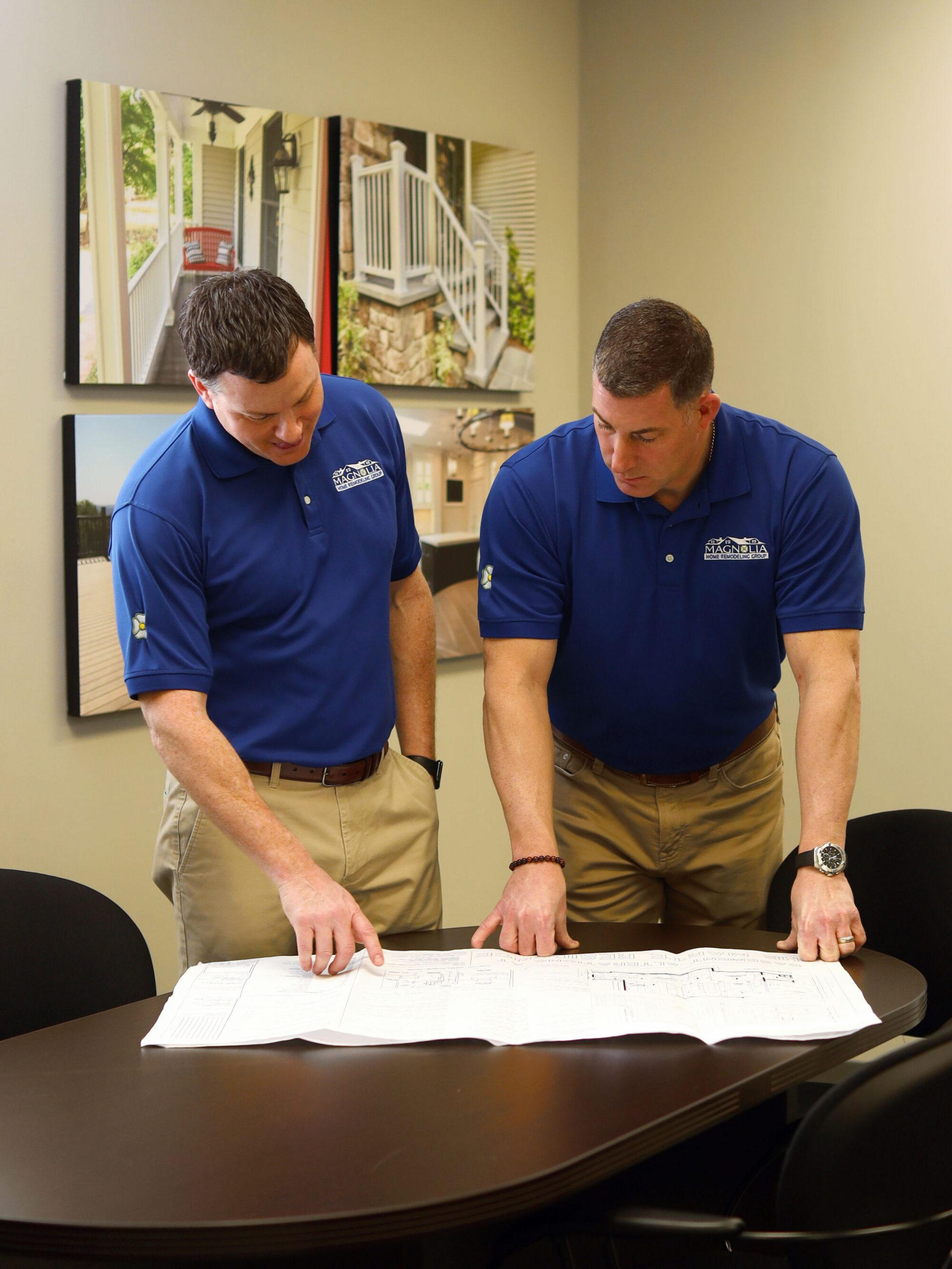 Vic & Chris of Magnolia Home Remodeling reviewing plans at MHRG Office, Vauxhall Rd, Union NJ