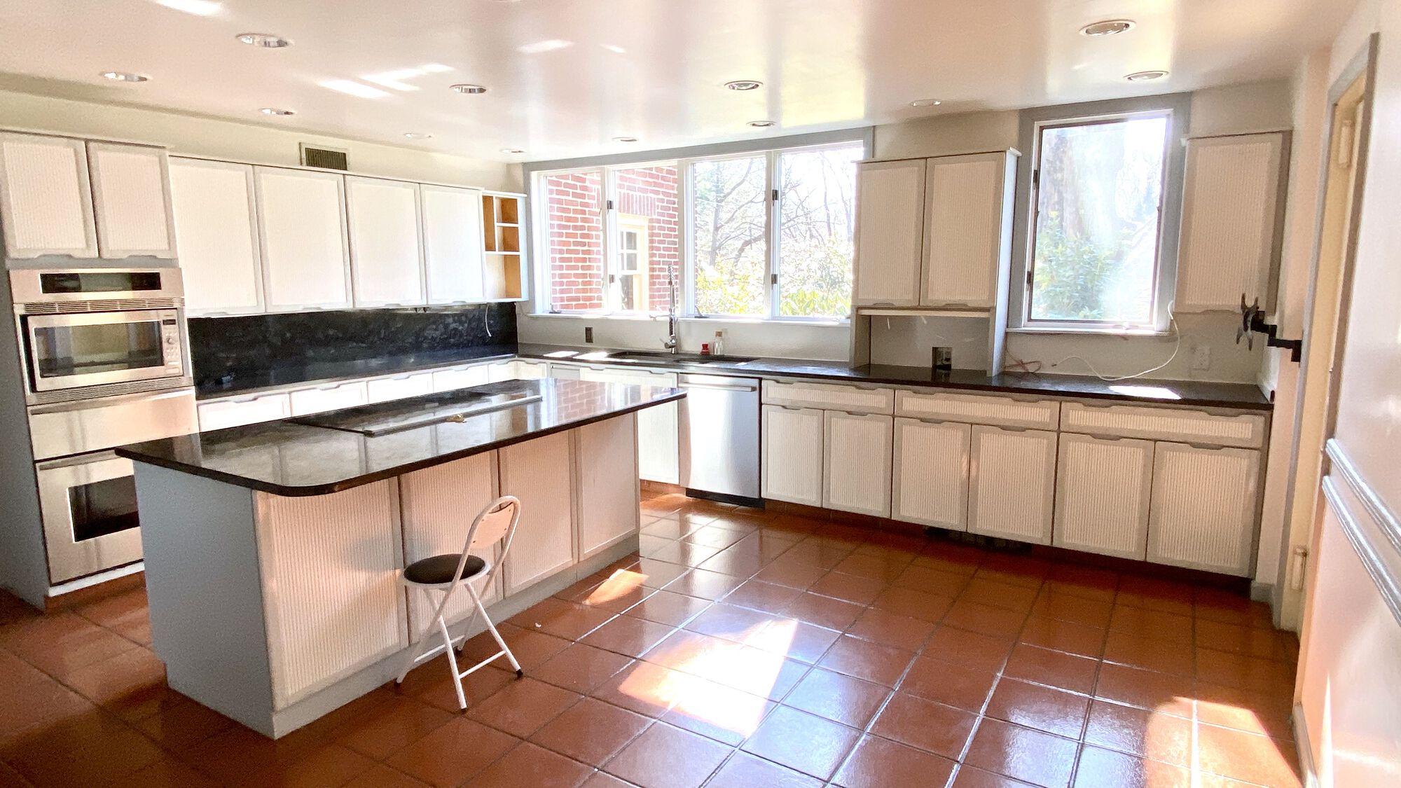 Kitchen Renovation with Fabuwood Full Overlay Wood Cabinets, Open Shelving, Quartz Countertops, Oak Hardwood Flooring in West Orange, Essex County NJ