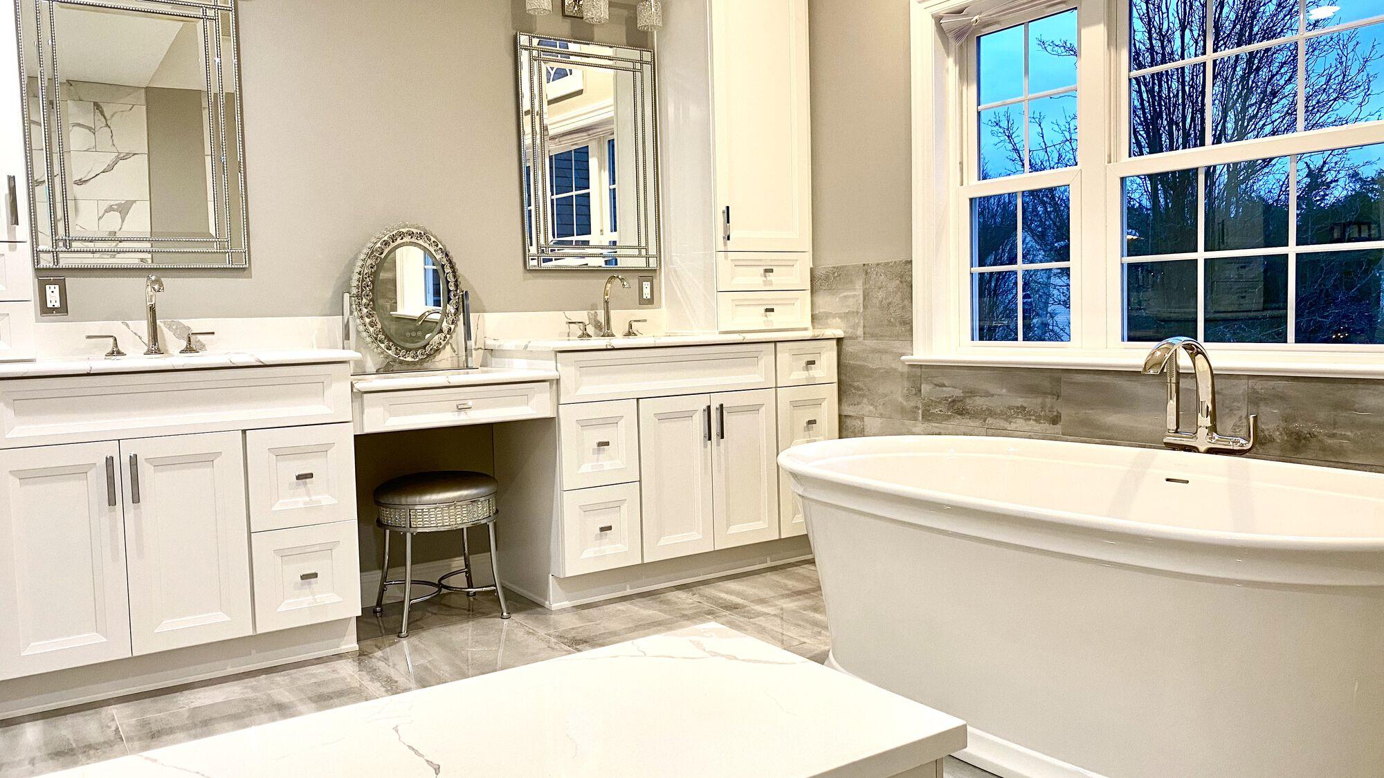 Master Bath Remodeling with Custom Cabinetry, Kohler Kallista Plumbing Fixtures with Porcelain Tile in Central NJ