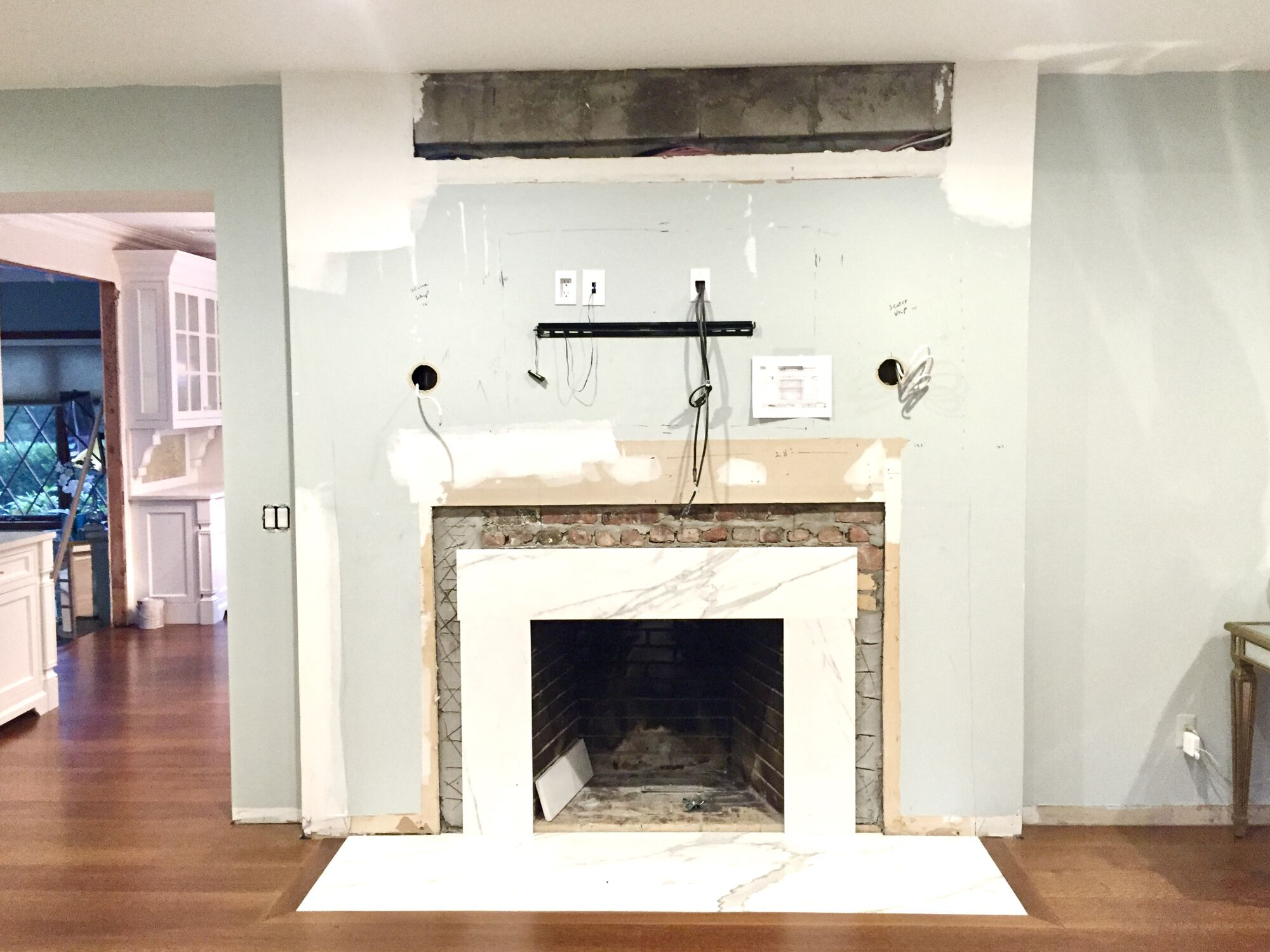 Living Room Remodeling and Kitchen Renovation with Custom Trim and Fireplace, 8_ Wide Plank Rift Only White Oak Flooring in Sussex County NJ
