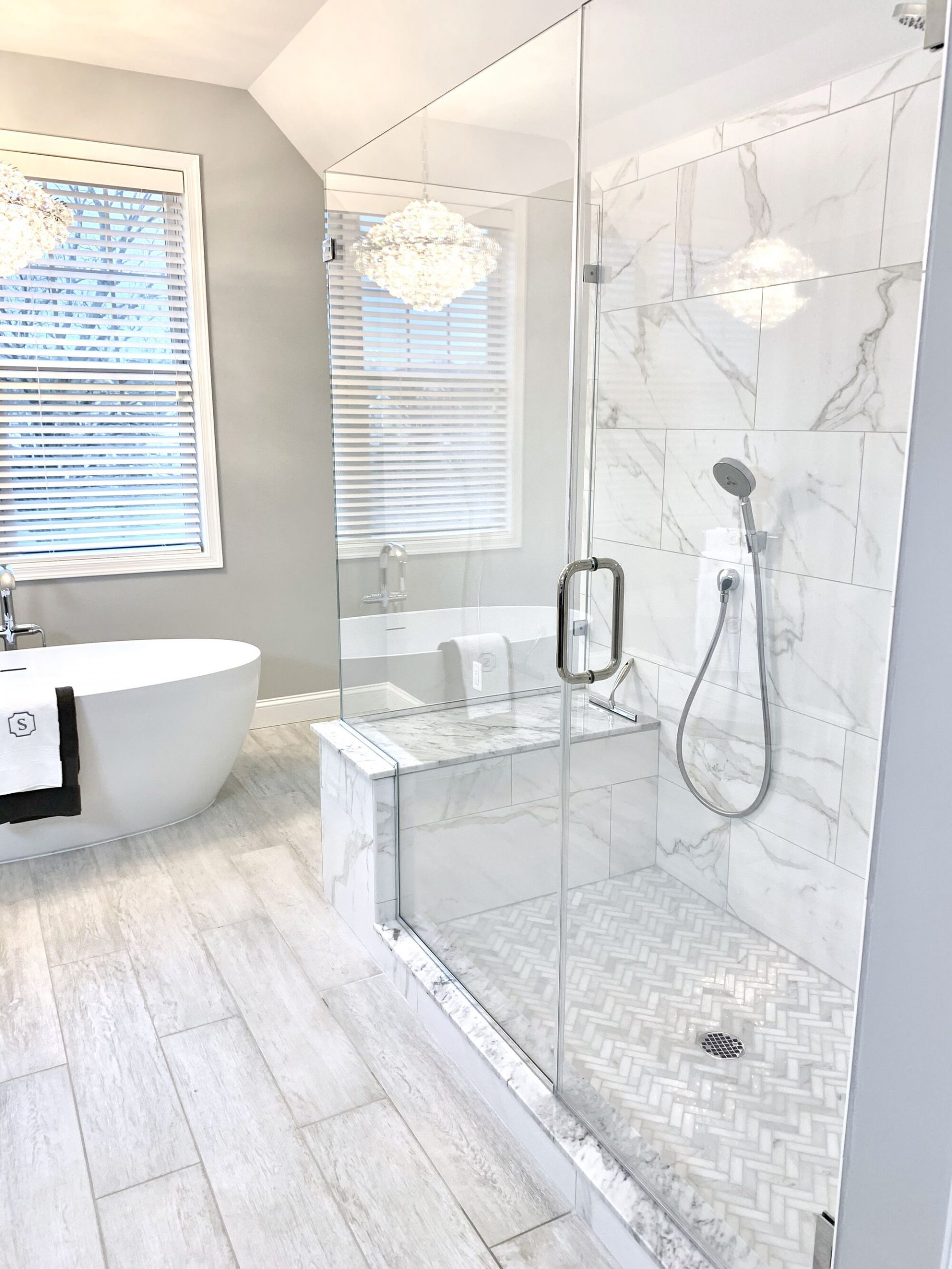 Master Bath Remodeled with Freestanding Tub, Custom Shower with Bench and Wrap Around Glass in Sparta, Sussex County NJ