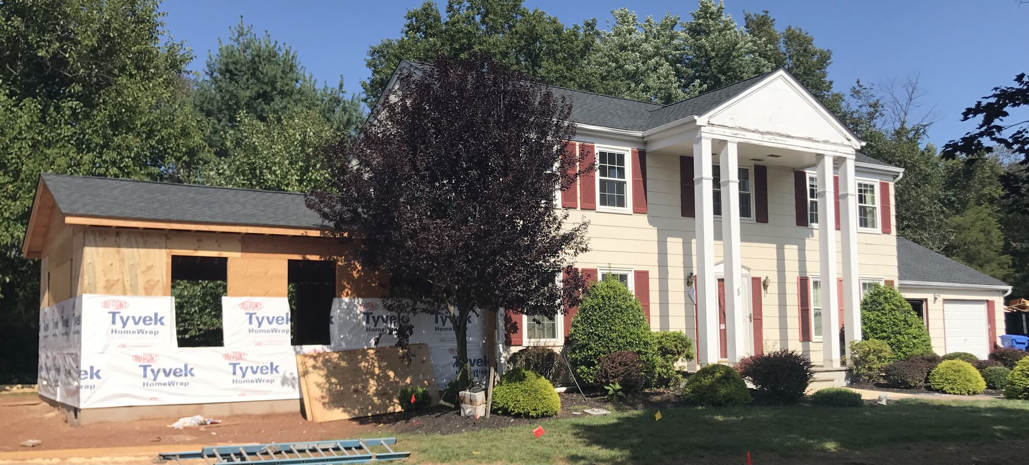 Family Room Addition, Prodigy Siding, GAF Roofing, Mezzo Windows, Gutters and Trim in Hillsborough, Somerset County NJ