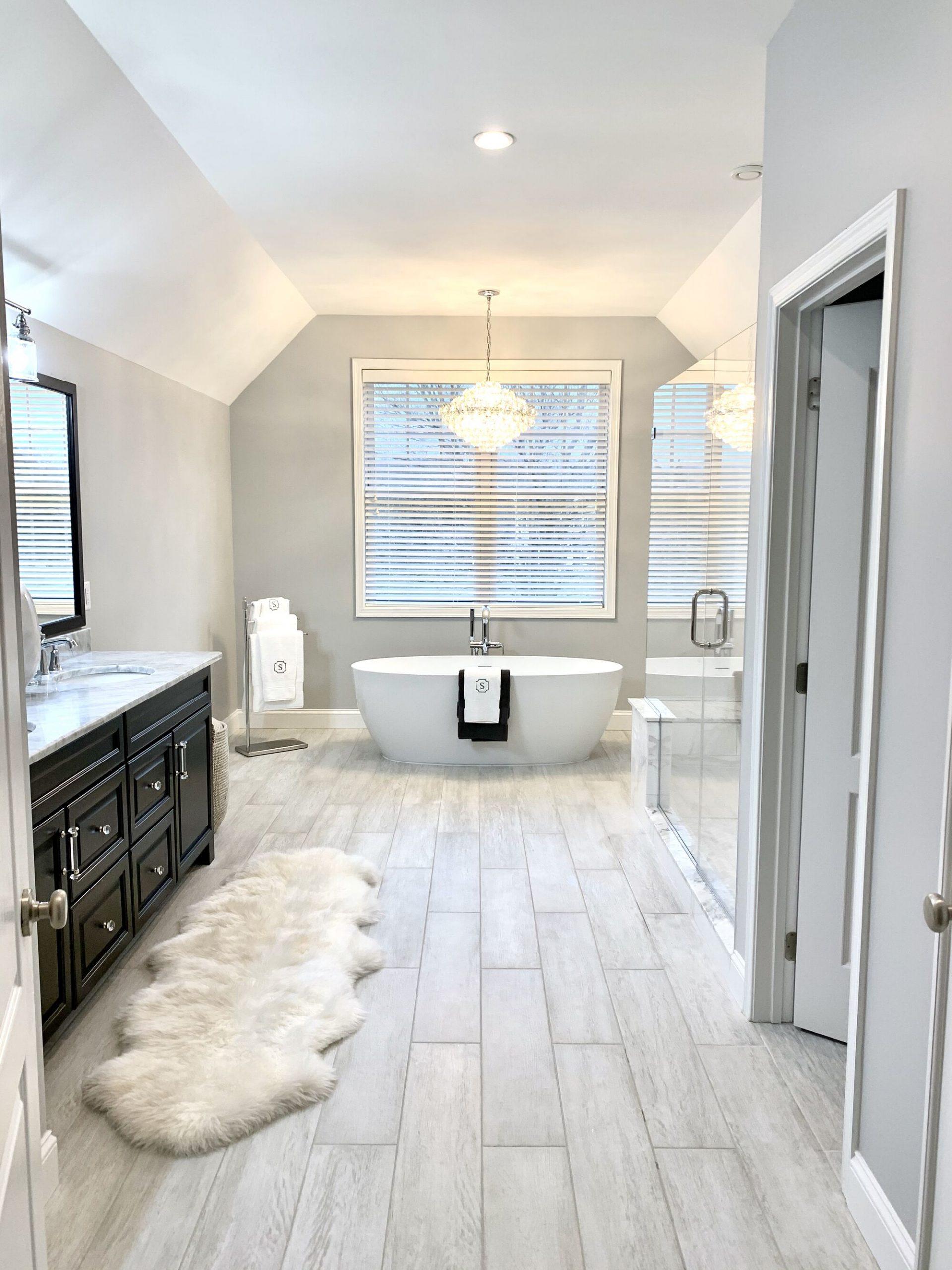 Master Bath Renovation with Porcelain Flooring and Kohler Fixtures, Freestanding Tub, Custom Shower In Sparta, Sussex County NJ