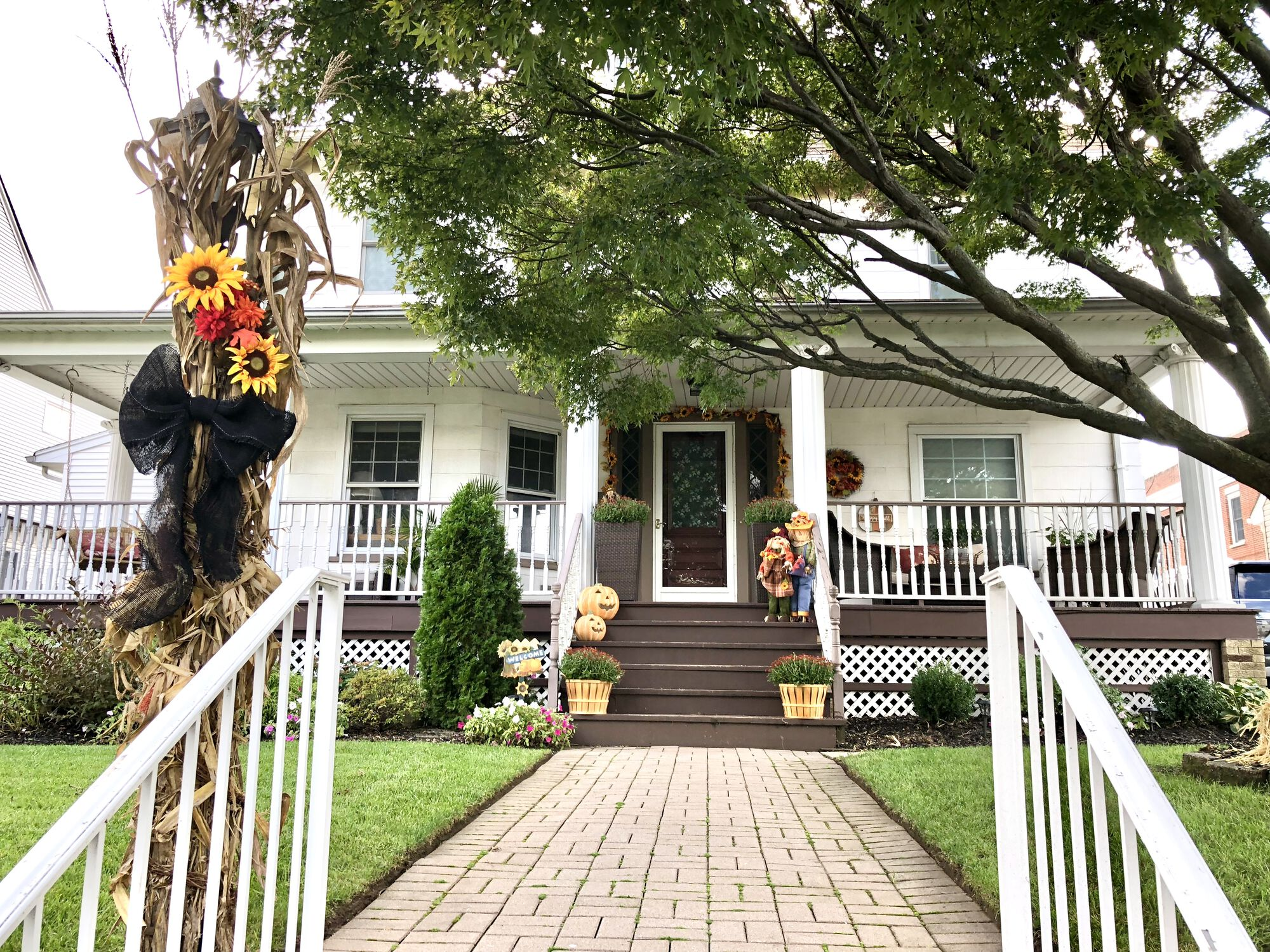 Front Porch Remodeling with Azek Timbertech Grooved Composite Flooring and Rails, HBG Posts, New Composite Steps, Cambridge Paver Walkway in Hasbrouck Heights, Bergen County NJ (1)