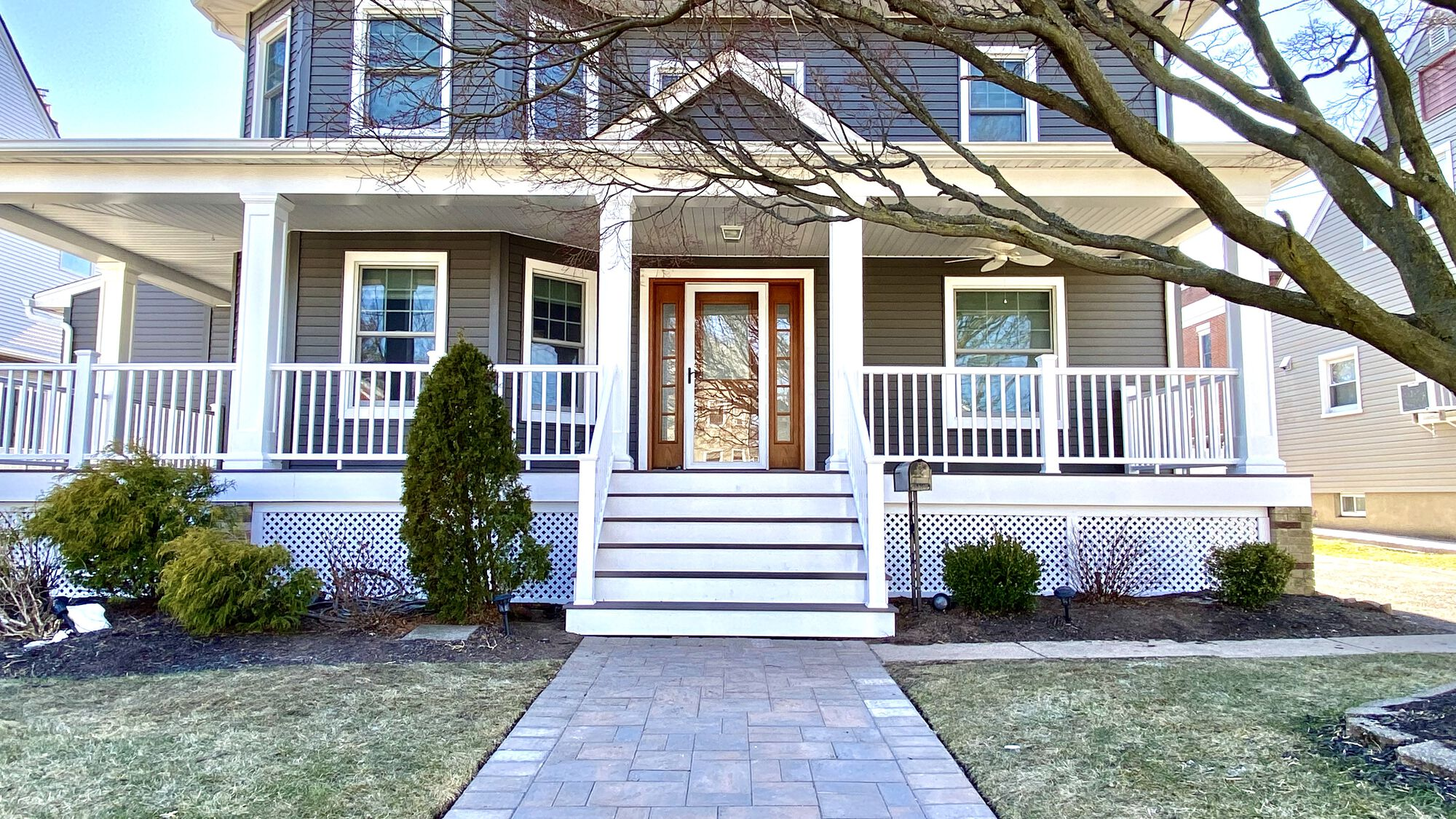 Front Porch Remodeling with Azek Timbertech Grooved Composite Flooring and Rails, HBG Posts, New Composite Steps, Cambridge Paver Walkway in Hasbrouck Heights, Bergen County NJ