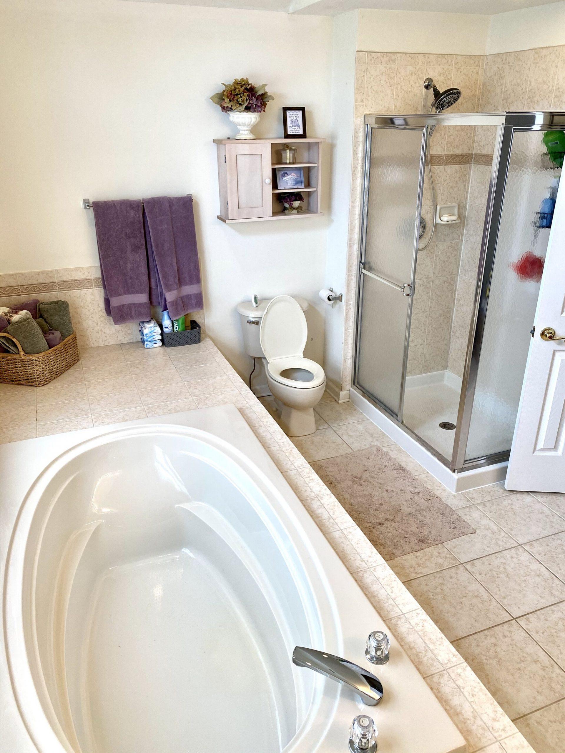 Customer Shower with Kallista Fixture, Kohler Freestanding Tub, Porcelain Tiles and Quartz Tops in Somerset, Somerset County NJ