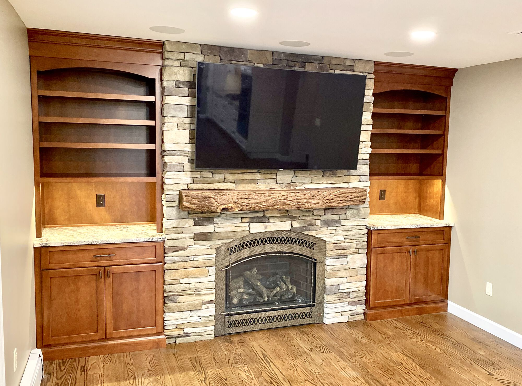 Built In Cabinetry with Boral Stone for Fireplace Surround in Rockaway, Morris County NJ