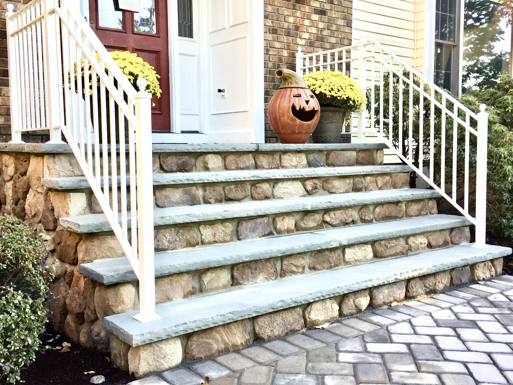 Front Steps with Boral Fieldstone Risers, Bluestone Treads, Aluminum Railings in Berkeley Heights, Union County NJ AFTER (1)